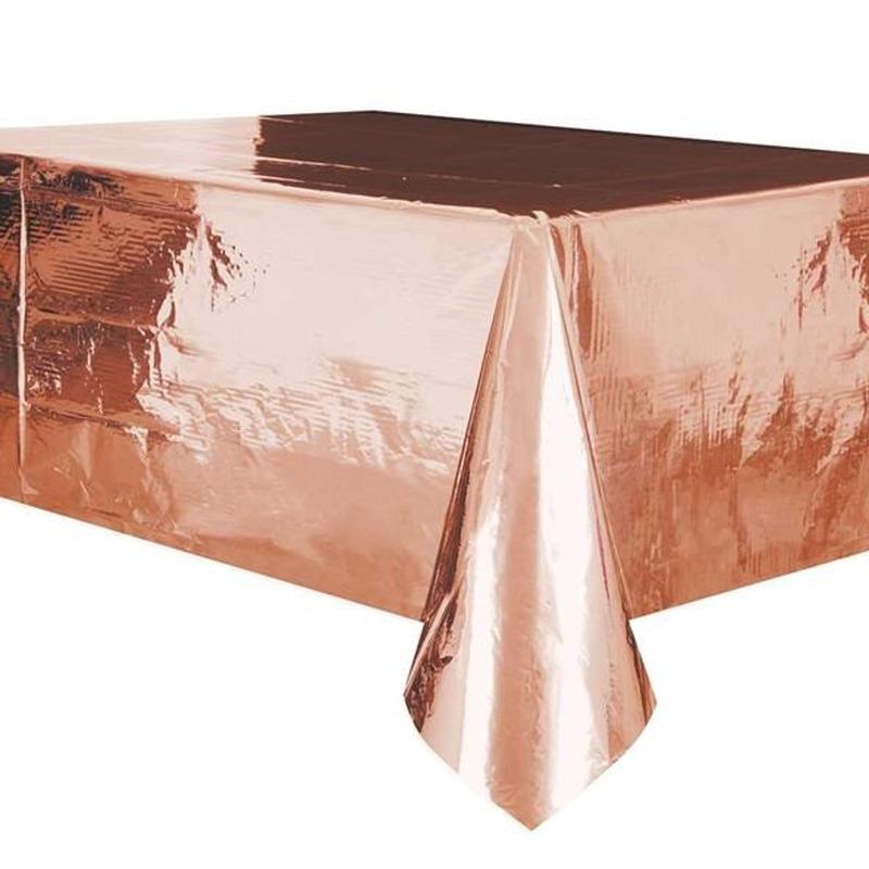 Rose gouden tafelkleed-tafellaken 137 x 274 cm folie