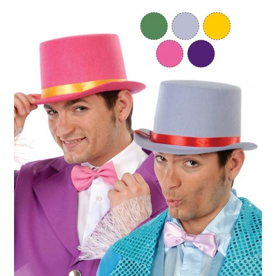 Roze hoge hoed voor volwassenen van vilt