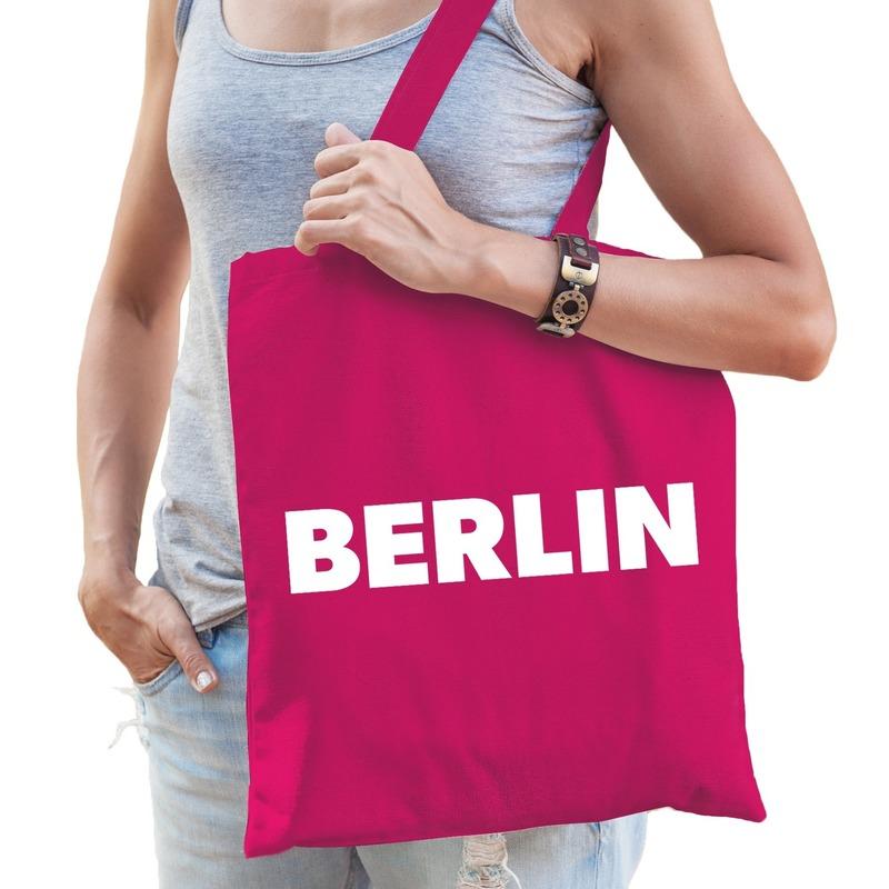Roze katoenen Berlijn tas