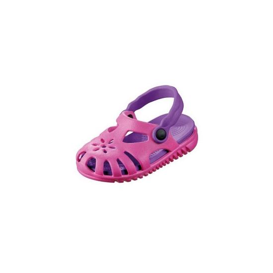 Roze/paarse kids waterschoen sandalen met bloemetje