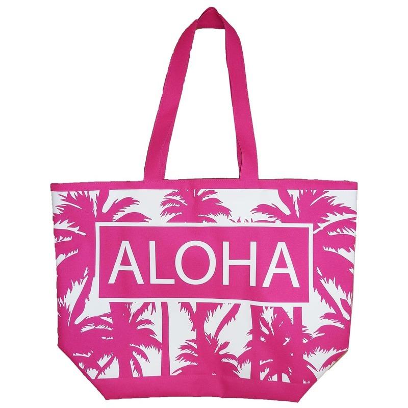 Roze strand tas palmbomen Aloha 58 cm
