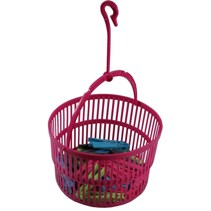 Roze wasknijper mandje met knijpers 25 stuks