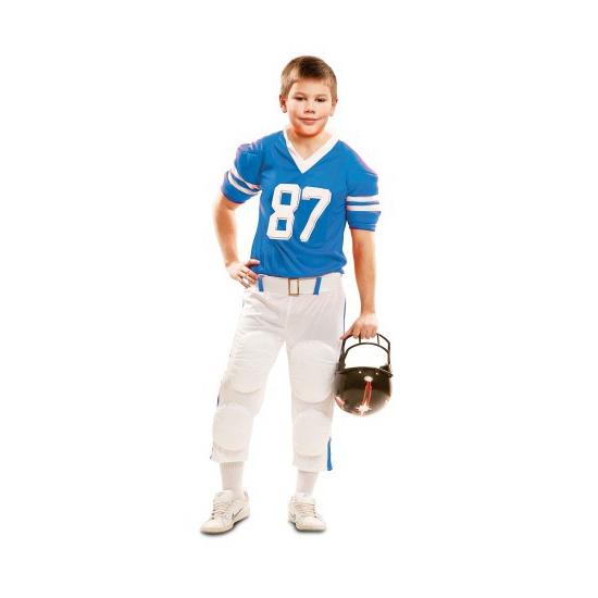 Rugby speler pak wit-blauw voor kids