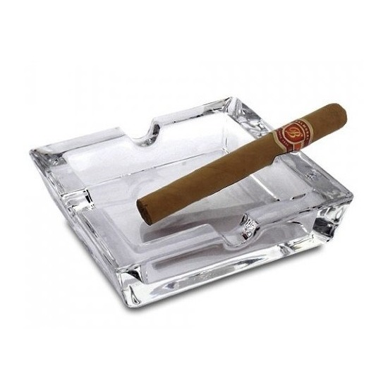 Sigaren asbak vierkant van glas 15 x 15 cm
