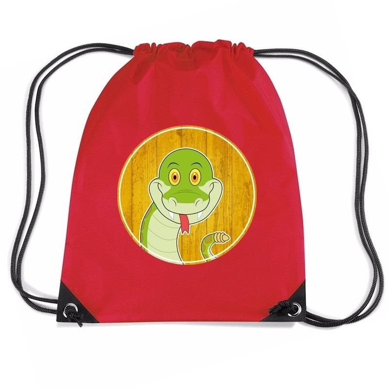 Slangen rugtas / gymtas rood voor kinderen