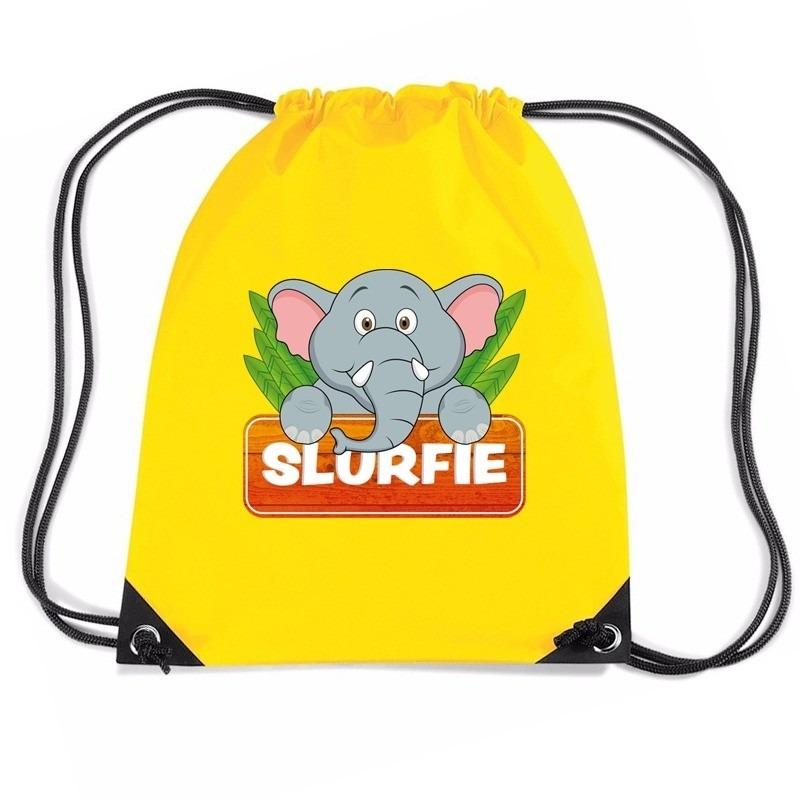 5cb7fcd1527 Slurfie de olifant rugtas / gymtas geel voor kinderen. dit gele rugzakje is  bedrukt met