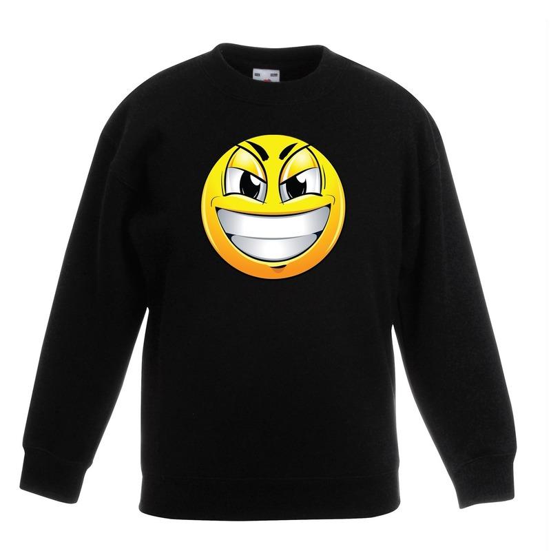 Smiley sweater ondeugend zwart kinderen
