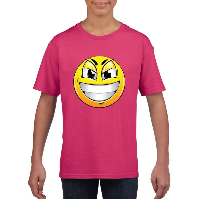 Smiley t-shirt ondeugend roze kinderen