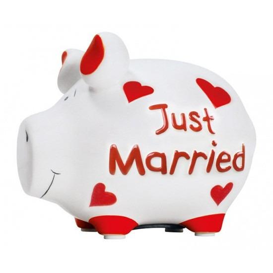 Spaarpot varken-spaarvarken just married 12 cm huwelijk cadeau