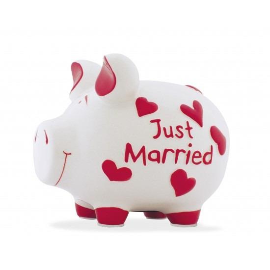 Spaarpot varken-spaarvarken just married 17 cm huwelijk cadeau