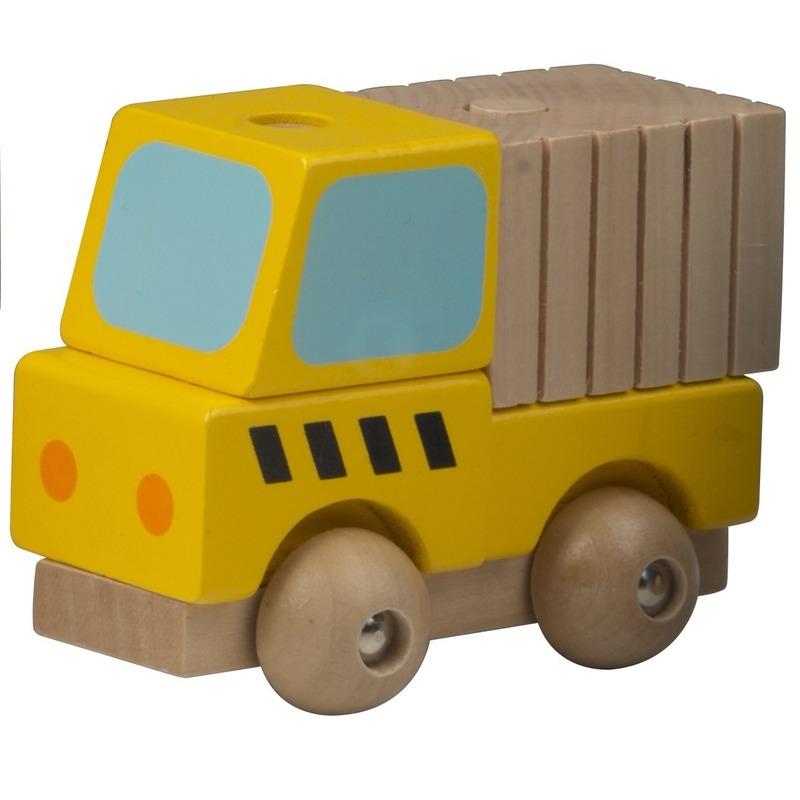 Speelgoed vracht auto hout 9 cm