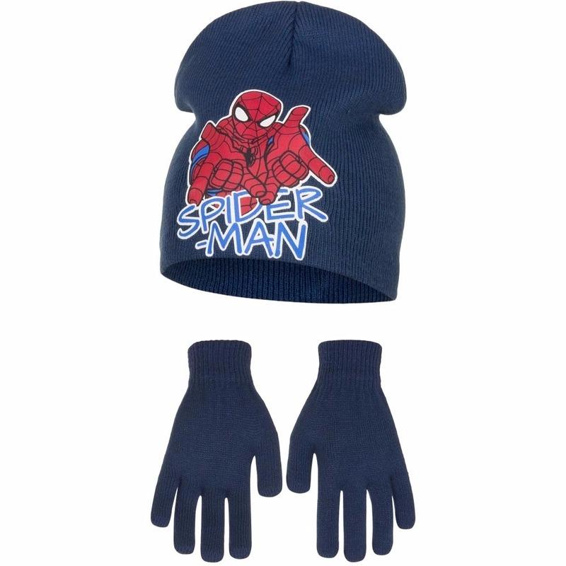 Spiderman set kindermuts en handschoenen voor jongens