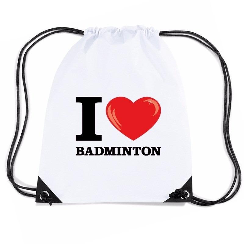 Sporttas met rijgkoord I love badminton
