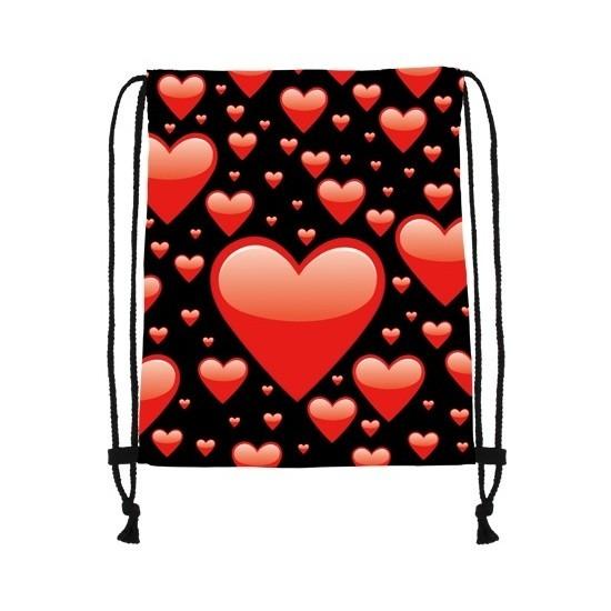 Sporttasje zwart met rode hartjes