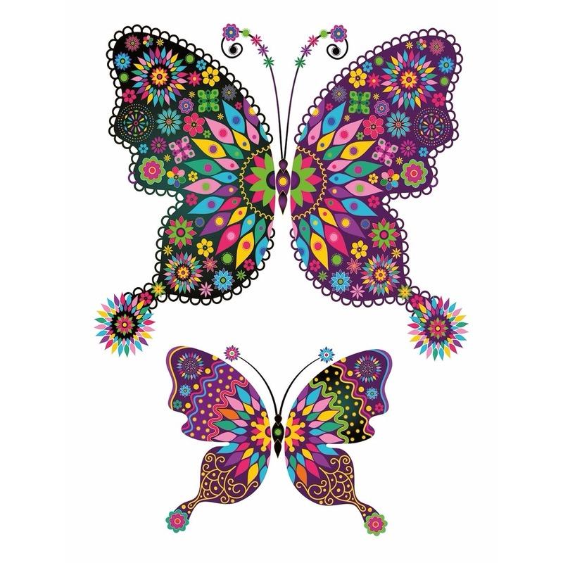 Stickers kleuren tattoo vlinder XXL
