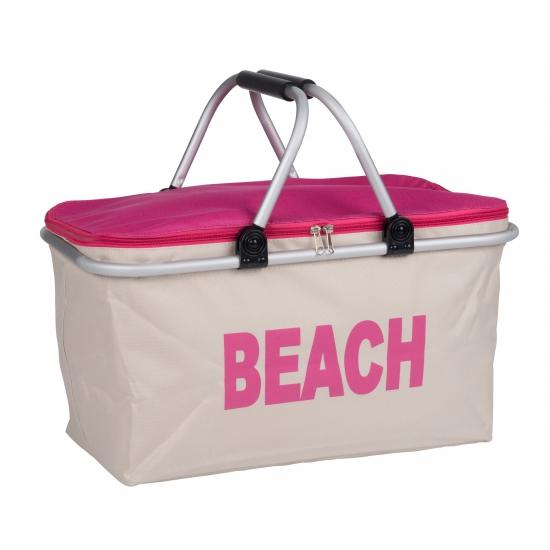 Stoffen strand koeltas roze met aluminium frame 48 cm