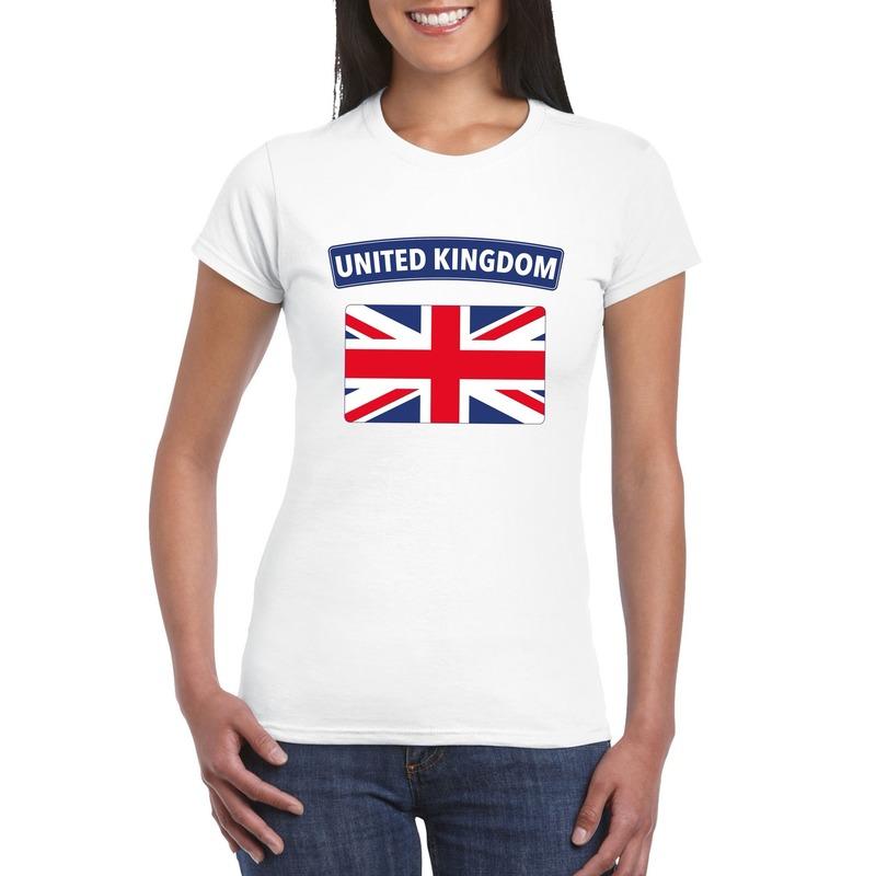 Wit t shirt met de groot brittannie/ engelse vlag voor dames. op dit shirt staat de vlag van engeland. ...