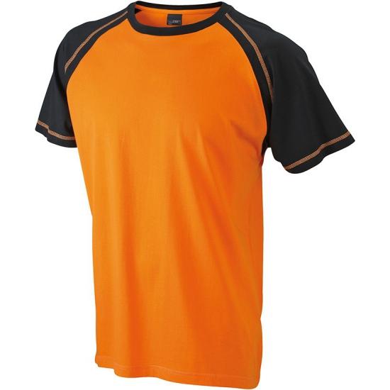 T-shirts voor heren in de kleuren oranje en zwart