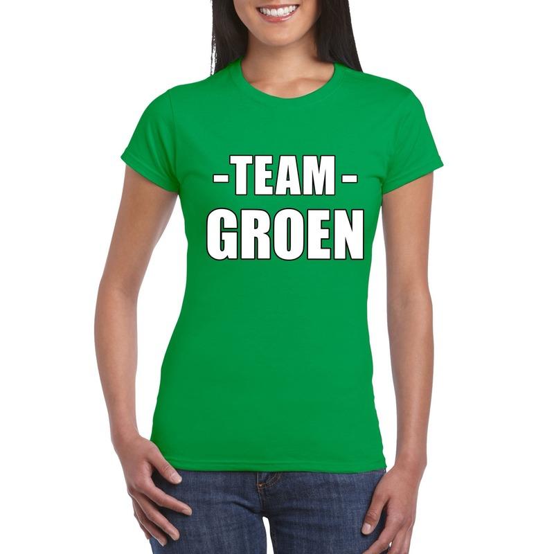 Team shirt groen dames voor bedrijfsuitje