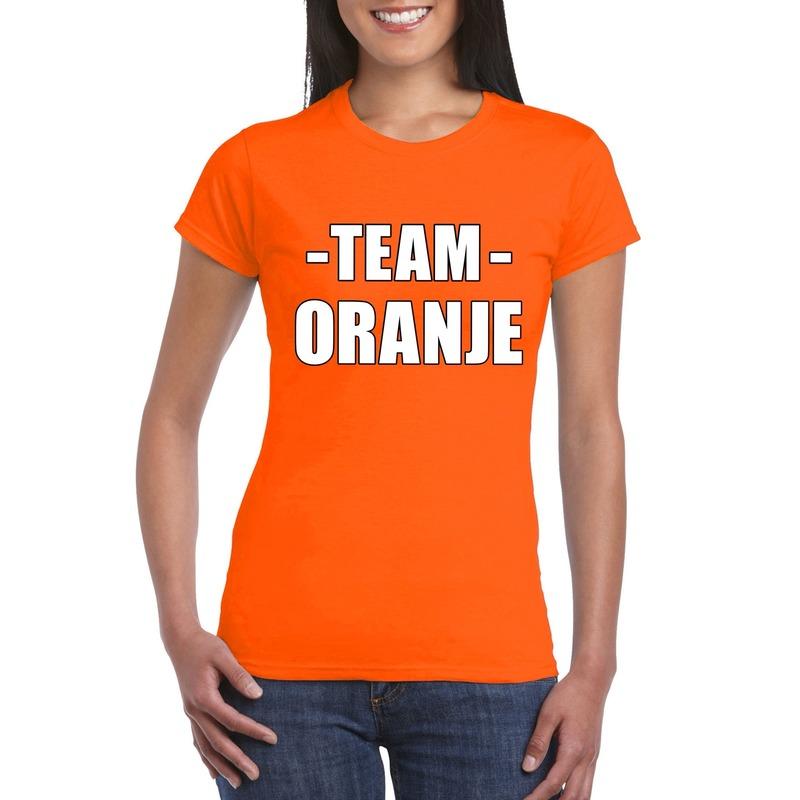 Team shirt oranje dames voor bedrijfsuitje