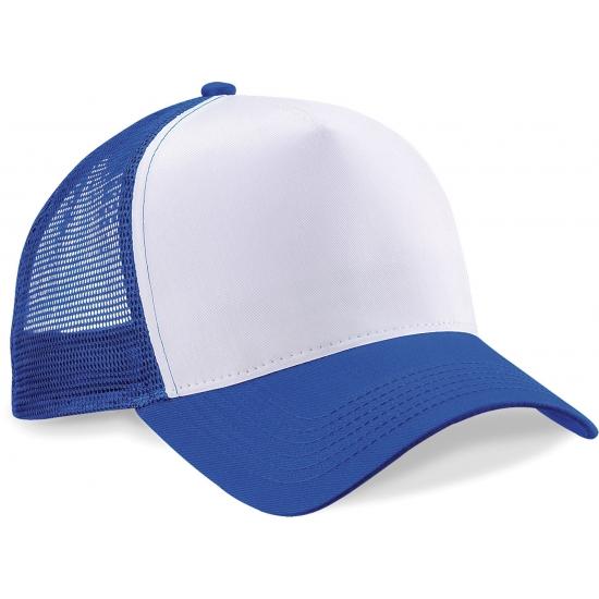 Truckers pet kobaltblauw/wit katoen