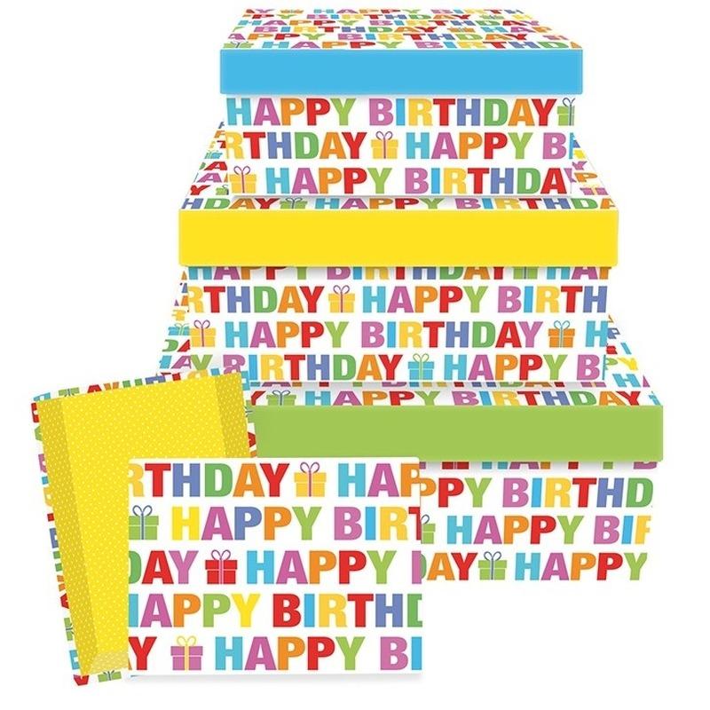 Verjaardag cadeauverpakking Happy Birthday 22 cm
