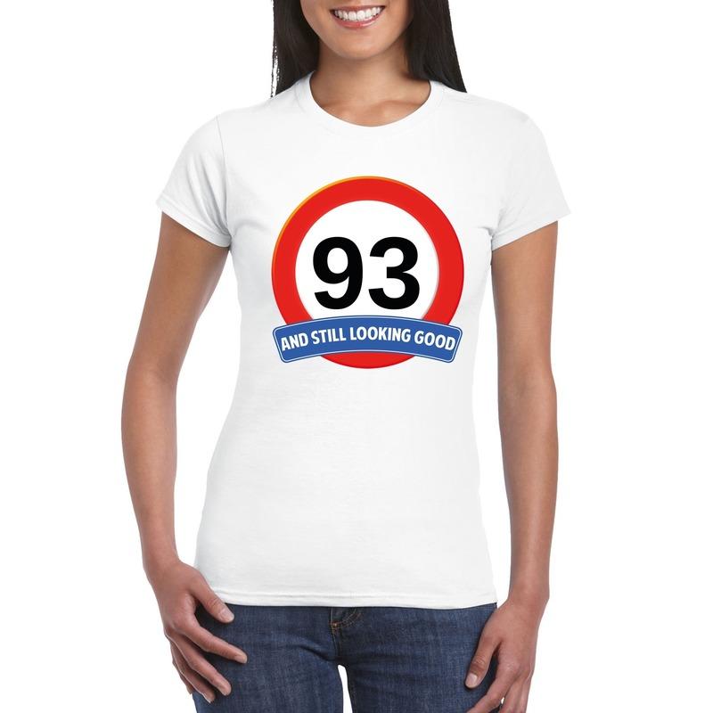 Verkeersbord 93 jaar t-shirt wit dames