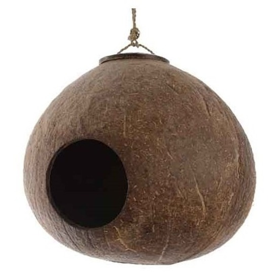 2cf4b7f3f3f Vogelhuisje kokosnoot aan hanger 16 cm tuin decoraties. een vogelhuisje,  gemaakt van een lege