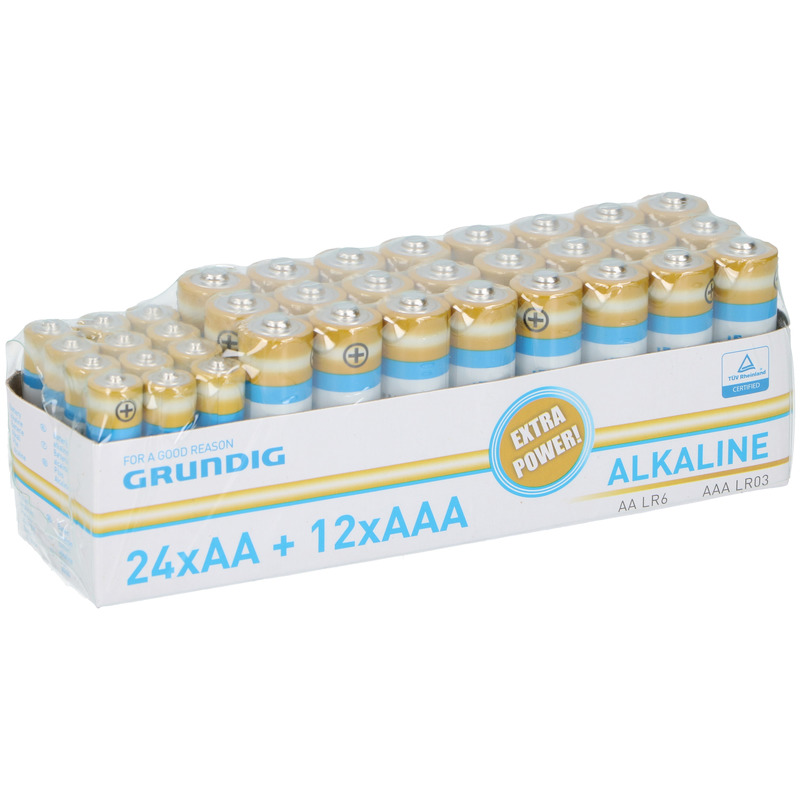 Voordeelset batterijen AA en AAA 36 stuks alkaline