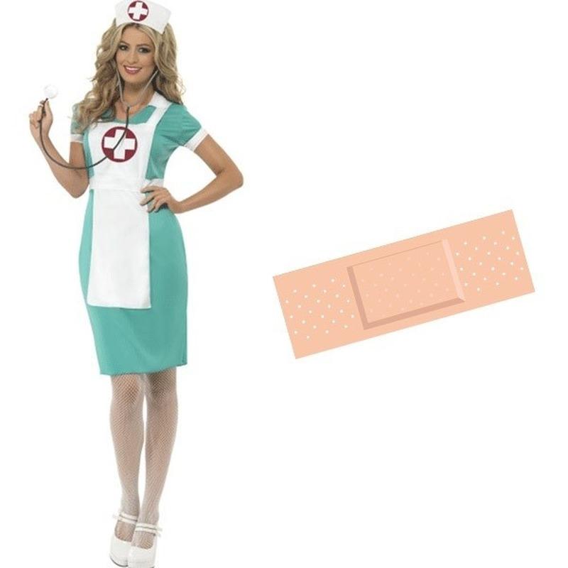 Voordelig verpleegster verkleed kostuum maat 40/42 met gratis sticker