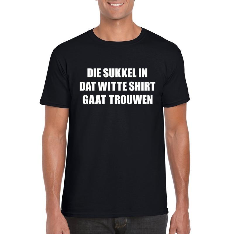 Vrijgezellenfeest Die sukkel gaat trouwen shirt zwart heren