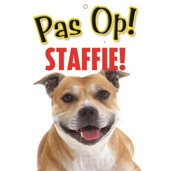 Waakbord Staffordshire Bullterrier-terrier hond