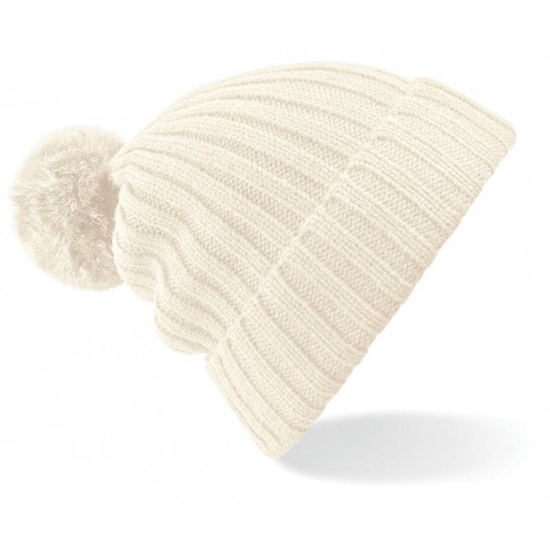 Winter muts met pompon voor dames creme wit