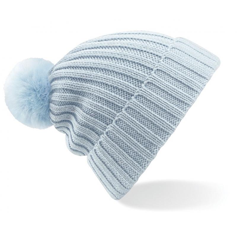 Winter muts met pompon voor dames lichtblauw