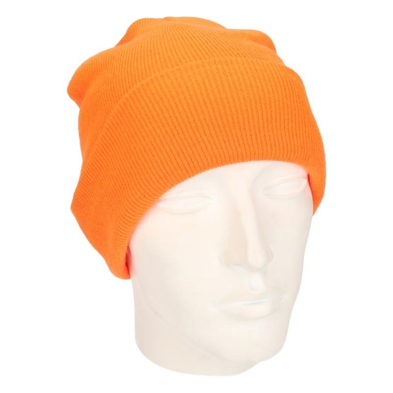Winter muts voor volwassenen neon oranje