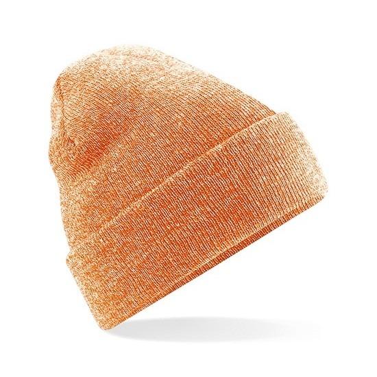 Winter muts voor volwassenen oranje gemeleerd