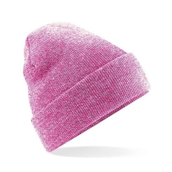 Winter muts voor volwassenen roze gemeleerd