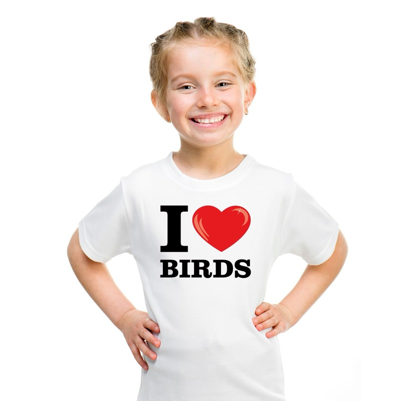 Wit I love birds t-shirt kinderen