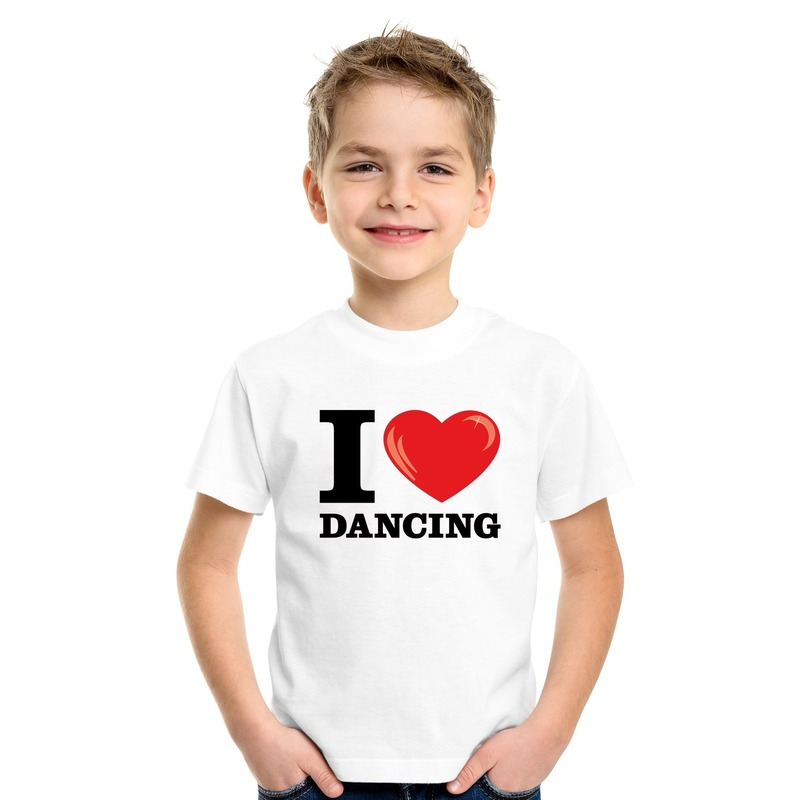 Wit I love dancing t-shirt kinderen