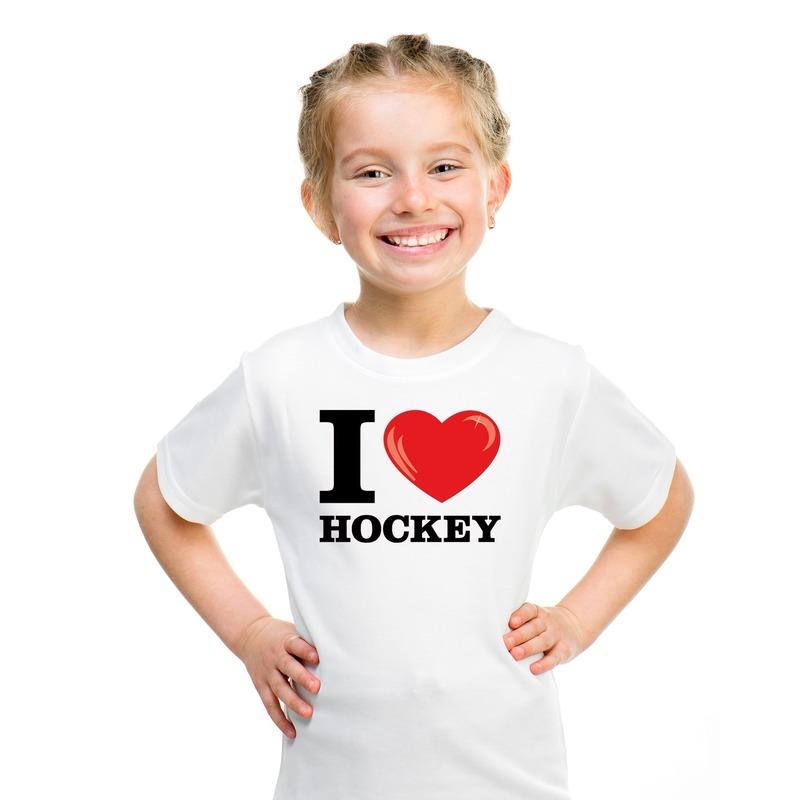 Wit I love hockey t-shirt kinderen
