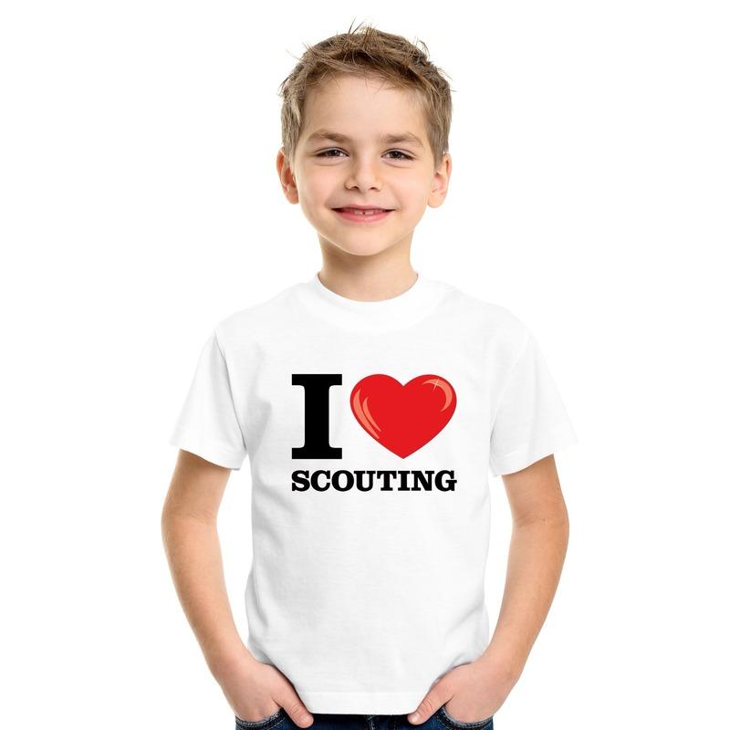 Wit I love scouting t-shirt kinderen