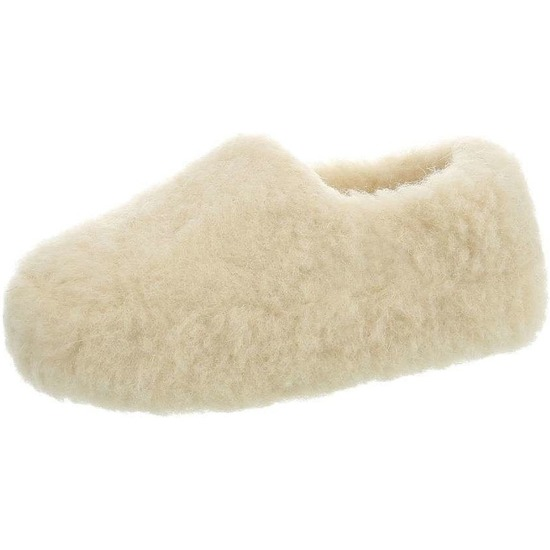 Witte wollen lage sloffen/pantoffels voor dames