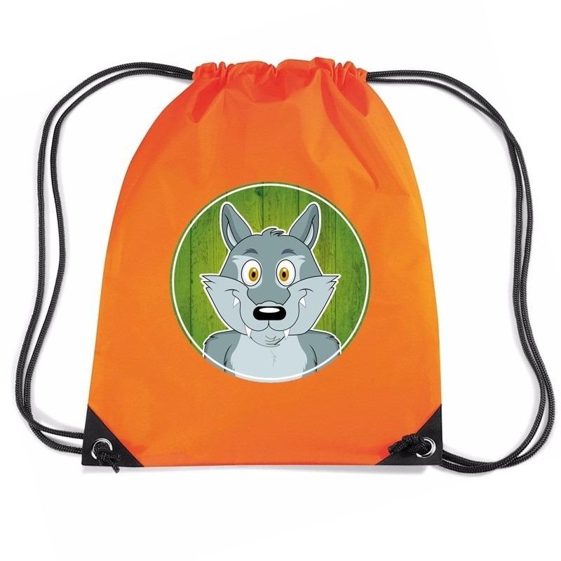 Wolven rugtas / gymtas oranje voor kinderen