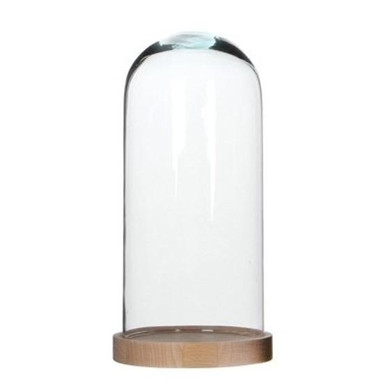 Woondecoratie stolp 13 x 26 cm transparant glas met houten voetje
