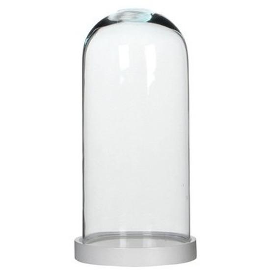 Woondecoratie stolp 13 x 26 cm transparant glas met wit houten voetje