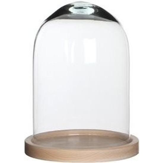 Woondecoratie stolp 17 x 23 cm transparant glas met houten voetje