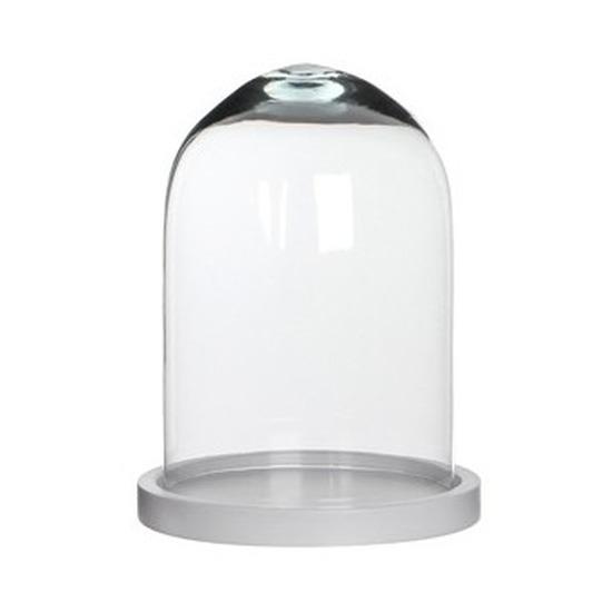 Woondecoratie stolp 17 x 23 cm transparant glas met wit houten voetje
