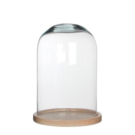 Woondecoratie stolp 21 x 30 cm transparant glas met houten voetje