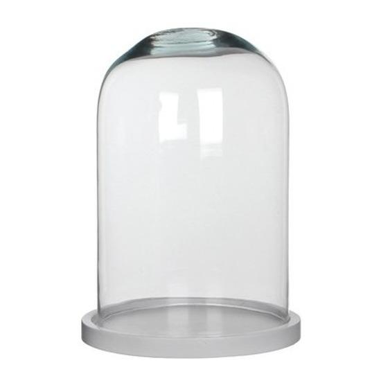 Woondecoratie stolp 21 x 30 cm transparant glas met wit houten voetje