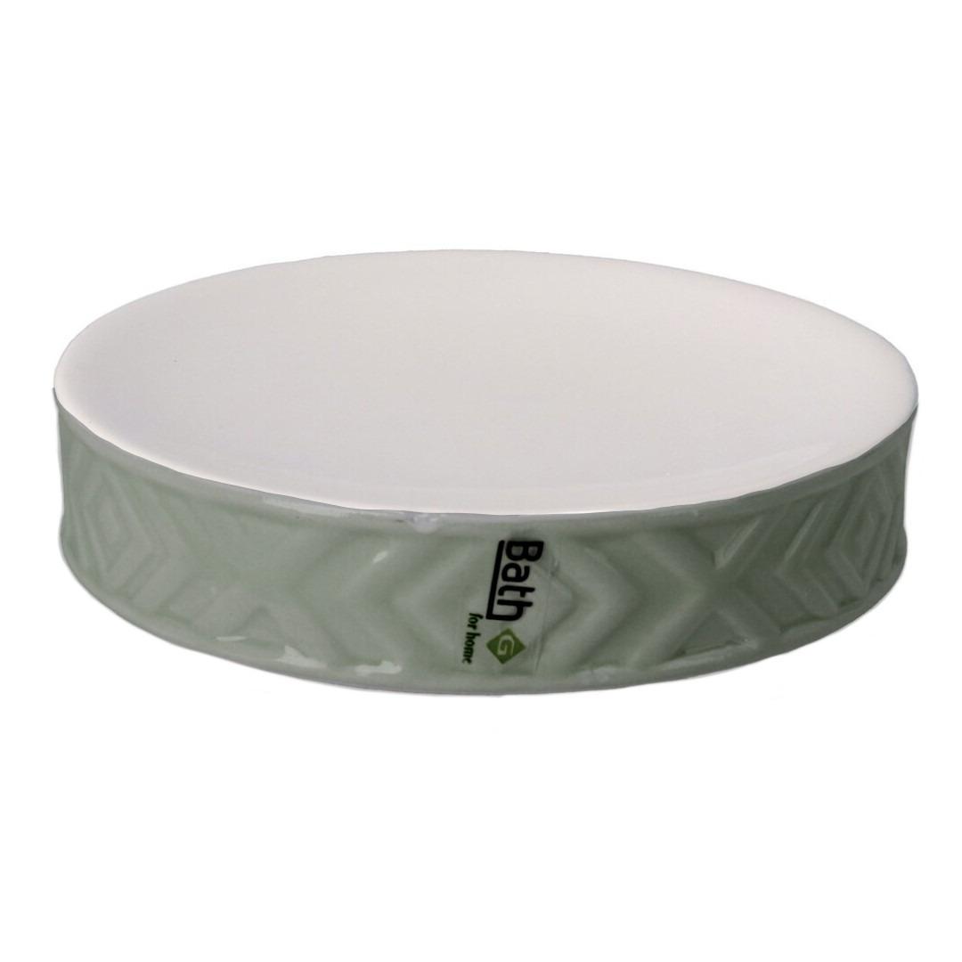 Zeephouder-zeepbakje groen-wit keramiek 10 cm